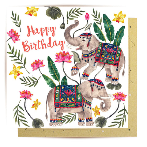 Mini Card Happy birthday Elephants