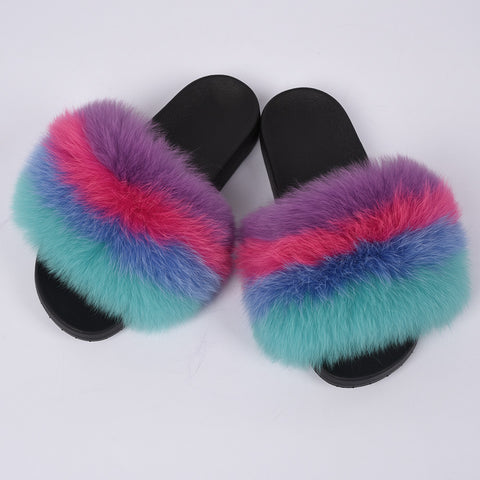 fashionfleek fox fur slides purple rainbow