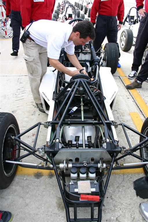 Formula car with front cowl off