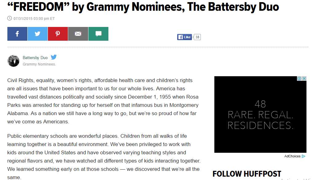 Laura's Collaboration with The Battersby Duo Makes the Huffington Post!