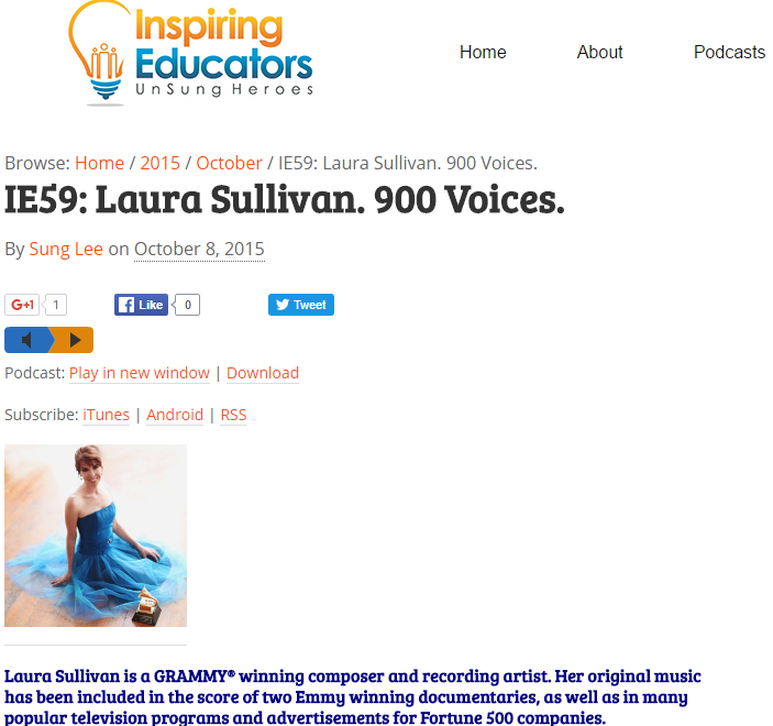 Laura's Interview on Inspiring Educators