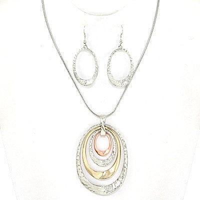 Pierced silver, rose gold & gold layered oval hoop pendant necklace & earring set