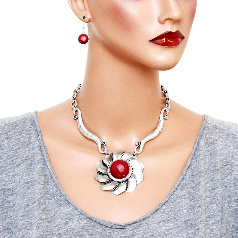 Pierced silver & red stone fan design necklace & earring set, [clipon_earrings], [piercedearrings] [holiday] - Hip and Cool Clip on Earrings Two  [non_piercedearrings]