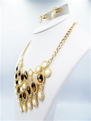 Clip on gold chain animal print & white stone statement necklace & earring set, [clipon_earrings], [piercedearrings] [holiday] - Hip and Cool Clip on Earrings Two  [non_piercedearrings]