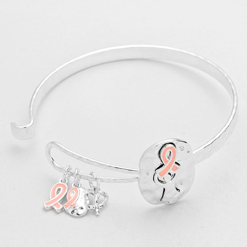 HAMMERED PINK CANCER RIBBON CHARM BANGLE BRACELET, [clipon_earrings], [piercedearrings] [holiday] - Hip and Cool Clip on Earrings Two  [non_piercedearrings]