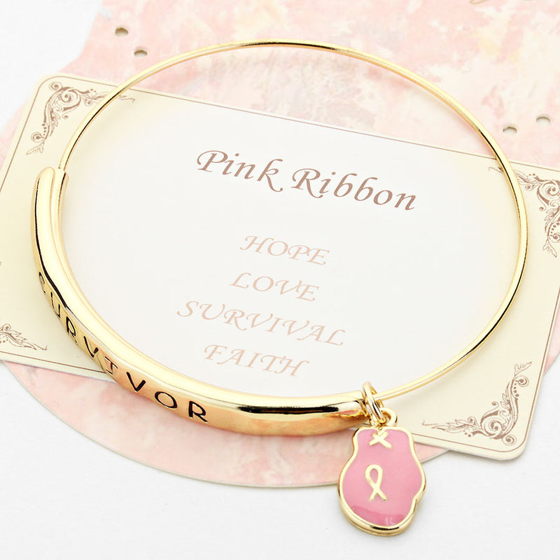 Adjustable survivor pink glove charm bracelet, [clipon_earrings], [piercedearrings] [holiday] - Hip and Cool Clip on Earrings Two  [non_piercedearrings]