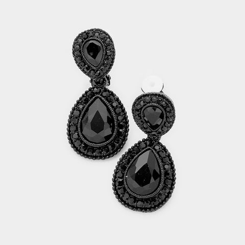 "Clip on 1 3/4"" black stone dangling teardrop non pierced earrings"
