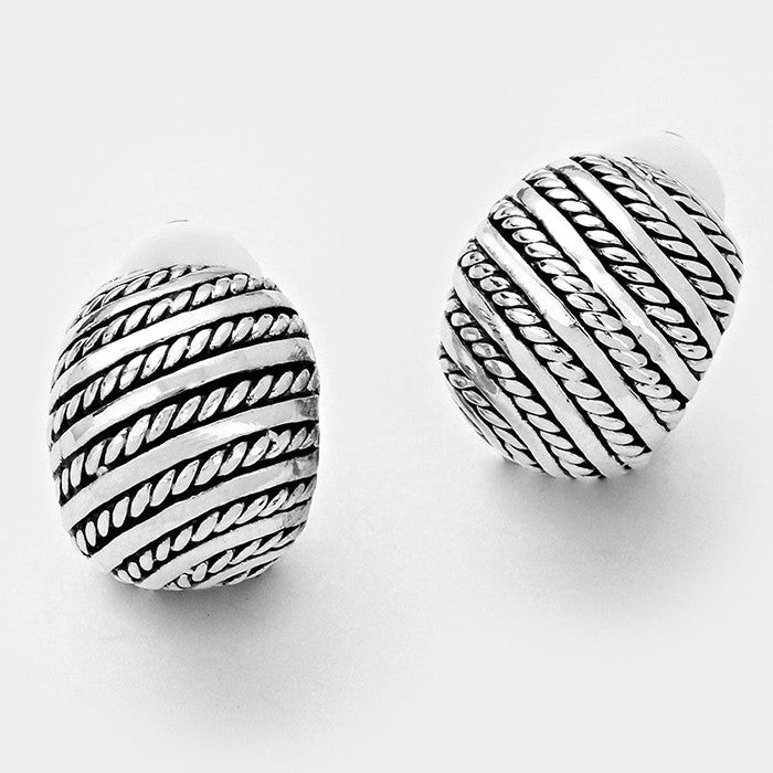 "Clip on 1/2"" small silver and black textured scoop earrings, [clipon_earrings], [piercedearrings] [holiday] - Hip and Cool Clip on Earrings Two  [non_piercedearrings]"