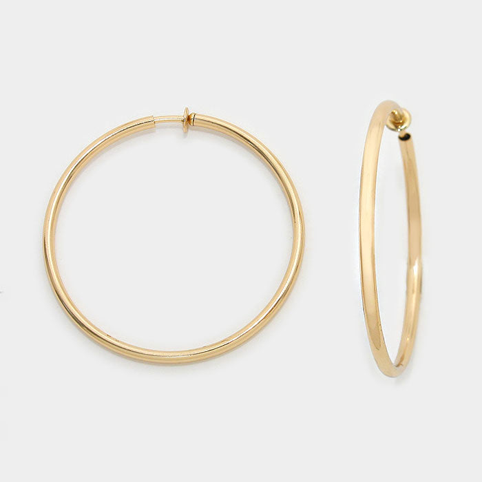 CLIP ON-Brass and teal dangling hoop earrings w/circles, [clipon_earrings], [piercedearrings] [holiday] - Hip and Cool Clip on Earrings Two  [non_piercedearrings]