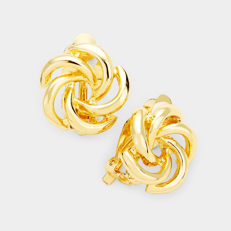 "Clip on 3/4"" gold cutout swirl button style earrings, [clipon_earrings], [piercedearrings] [holiday] - Hip and Cool Clip on Earrings Two  [non_piercedearrings]"