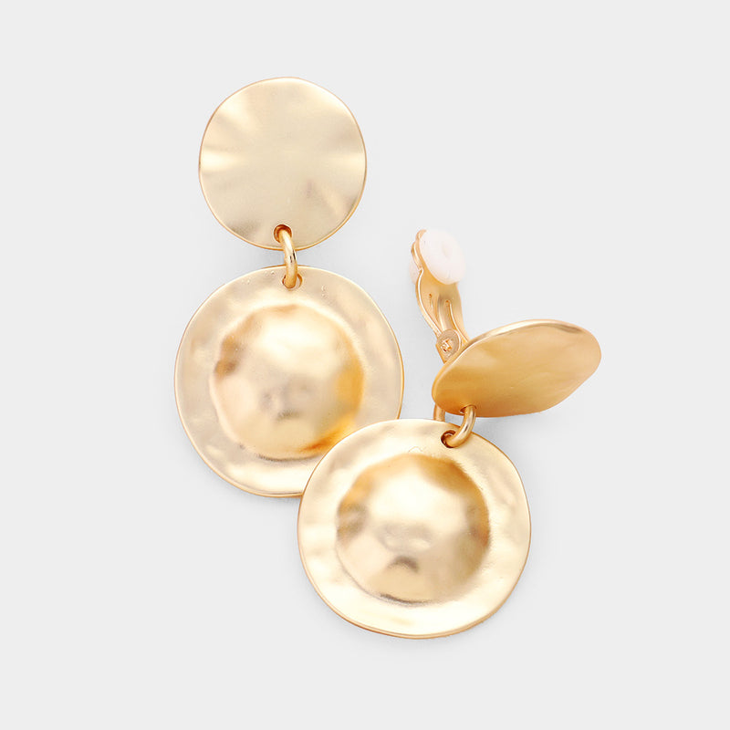 "Clip on 1 3/4"" matte gold hammered double circle earrings, [clipon_earrings], [piercedearrings] [holiday] - Hip and Cool Clip on Earrings Two  [non_piercedearrings]"