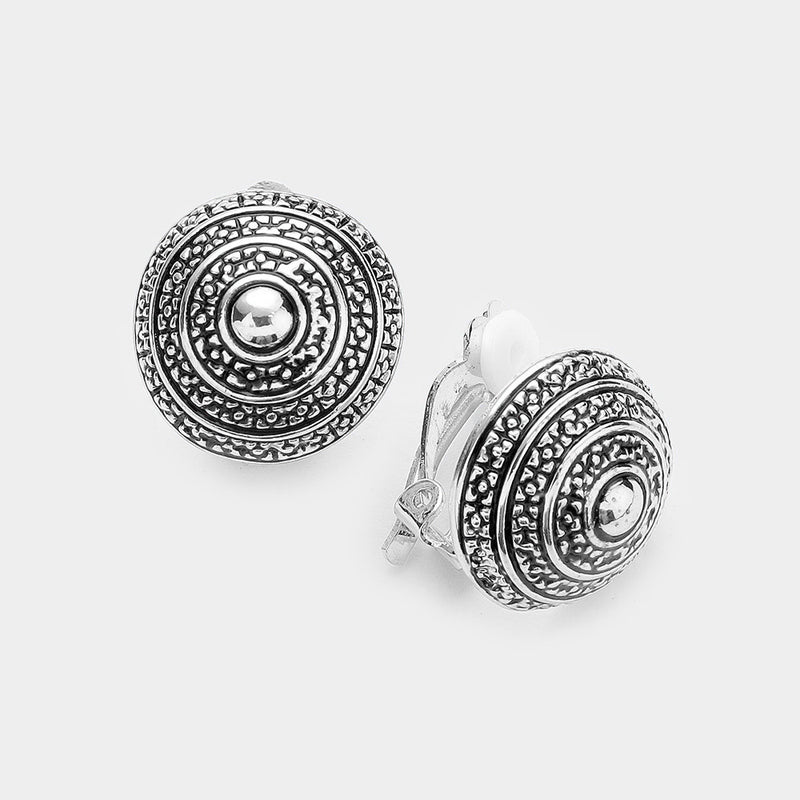 "Clip on 1"" silver raised textured circle button style earrings"