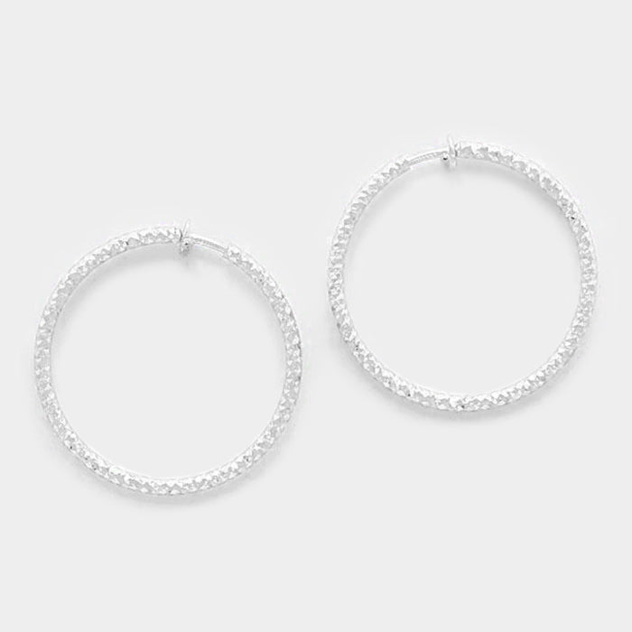 "Clip on 1 3/4"" silver shiny textured spring back hoop earrings, [clipon_earrings], [piercedearrings] [holiday] - Hip and Cool Clip on Earrings Two  [non_piercedearrings]"