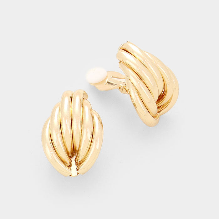 "Clip on gold 1"" half ring stacked clip on earrings, [clipon_earrings], [piercedearrings] [holiday] - Hip and Cool Clip on Earrings Two  [non_piercedearrings]"