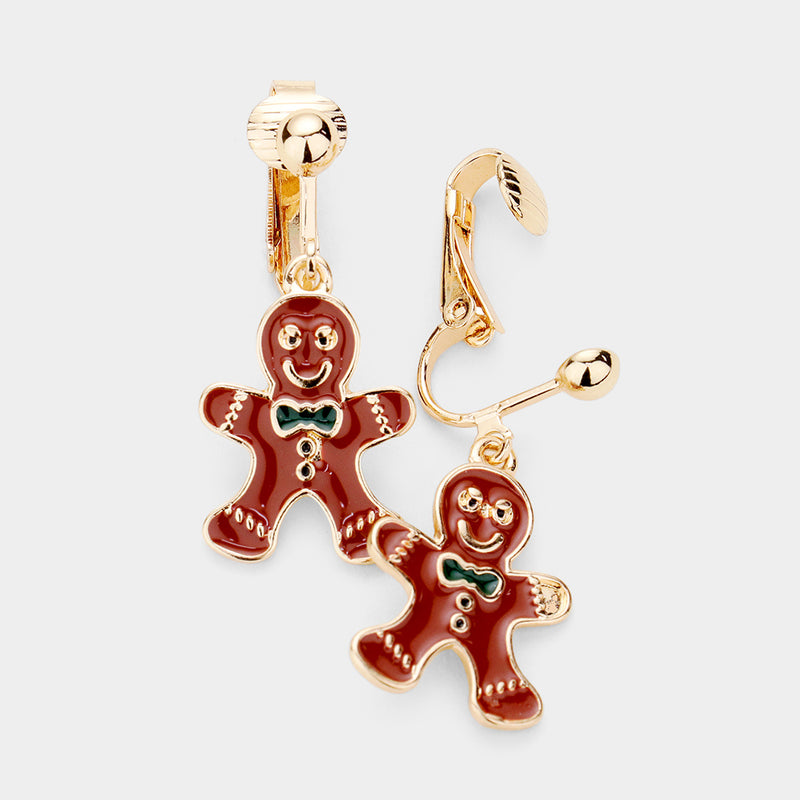 "Clip on 1 1/2"" gold & brown multi colored gingerbread man dangle earrings"