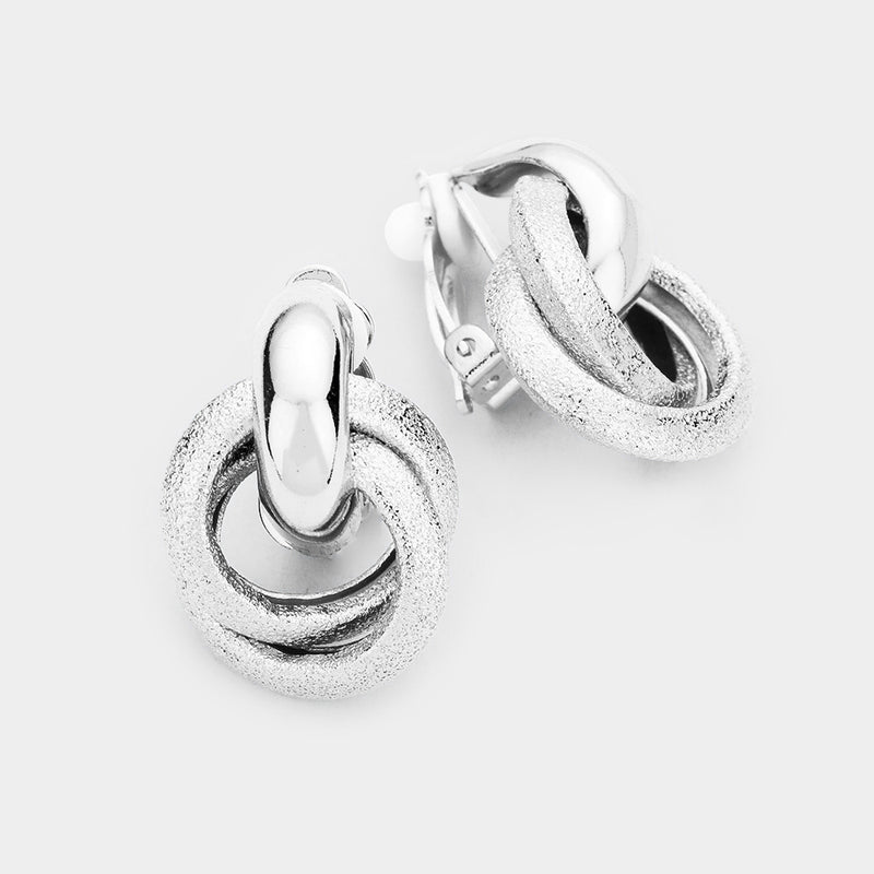 "Clip on 1"" silver knot button style earrings, [clipon_earrings], [piercedearrings] [holiday] - Hip and Cool Clip on Earrings Two  [non_piercedearrings]"