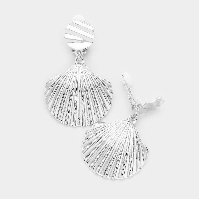 "Clip on 2"" silver indented dangling shell earrings"