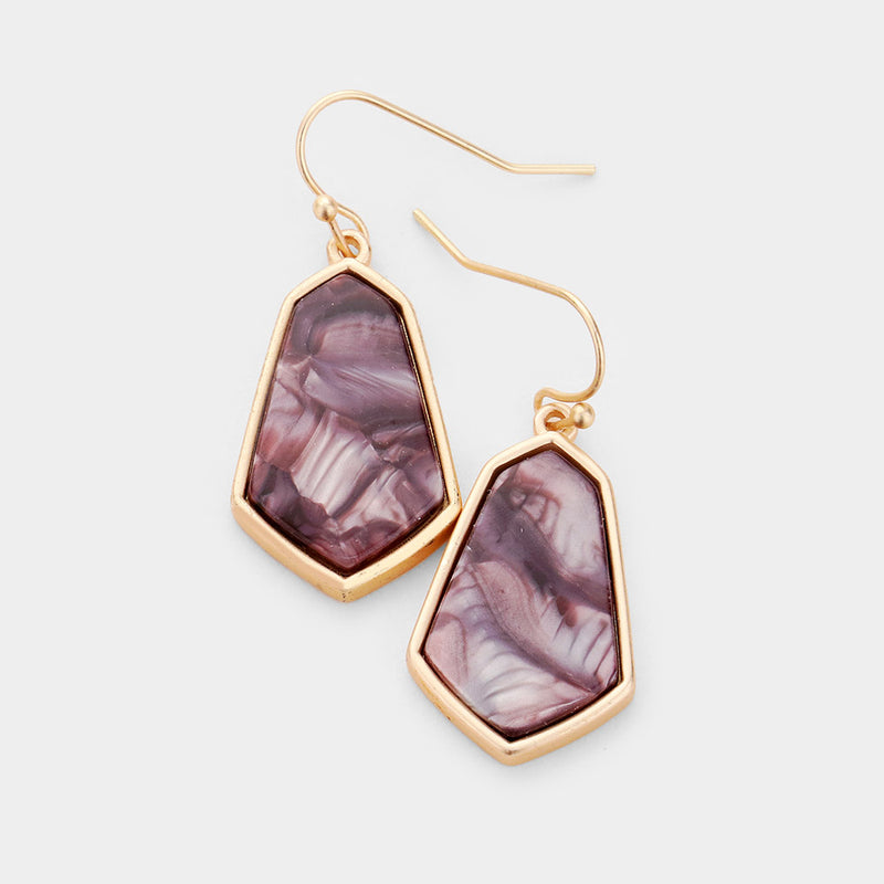 "Pierced 1 1/2"" matte gold dangling brown marble earrings, [clipon_earrings], [piercedearrings] [holiday] - Hip and Cool Clip on Earrings Two  [non_piercedearrings]"