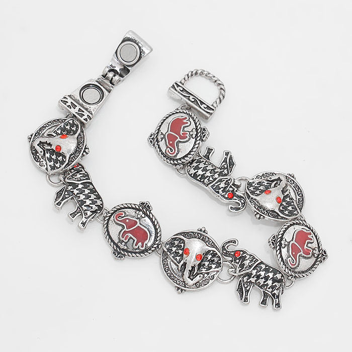 "Magnetic silver, black & plaid elephant bracelet w/red stones 7 1/2"", [clipon_earrings], [piercedearrings] [holiday] - Hip and Cool Clip on Earrings Two  [non_piercedearrings]"