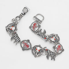 Magnetic silver, black & plaid elephant bracelet w/red stones 7 1/2