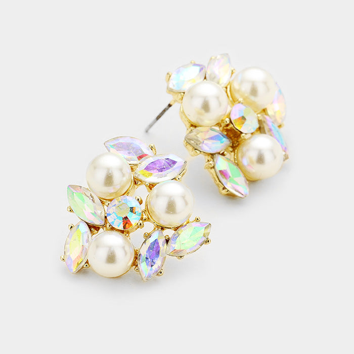 "Pierced 1"" gold, white pearl & fluorescent stone cluster earrings, [clipon_earrings], [piercedearrings] [holiday] - Hip and Cool Clip on Earrings Two  [non_piercedearrings]"