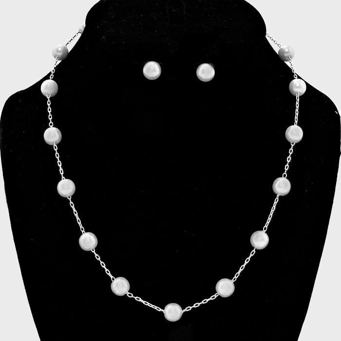 "Pierced 18"" silver petite chain necklace and earring set, [clipon_earrings], [piercedearrings] [holiday] - Hip and Cool Clip on Earrings Two  [non_piercedearrings]"
