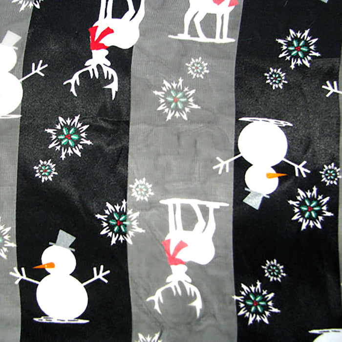 "Holiday black, white, red snowman and reindeer 59"" X 13"" polyester scarf, [clipon_earrings], [piercedearrings] [holiday] - Hip and Cool Clip on Earrings Two  [non_piercedearrings]"