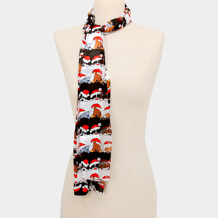 "Cute black Christmas hat cat and dog 59"" X 13"" multi colored polyester scarf, [clipon_earrings], [piercedearrings] [holiday] - Hip and Cool Clip on Earrings Two  [non_piercedearrings]"