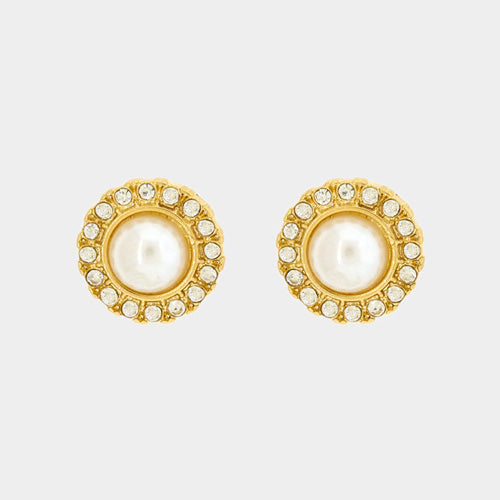 "Pierced 1/4"" xsmall gold round clear stone & pearl earrings, [clipon_earrings], [piercedearrings] [holiday] - Hip and Cool Clip on Earrings Two  [non_piercedearrings]"