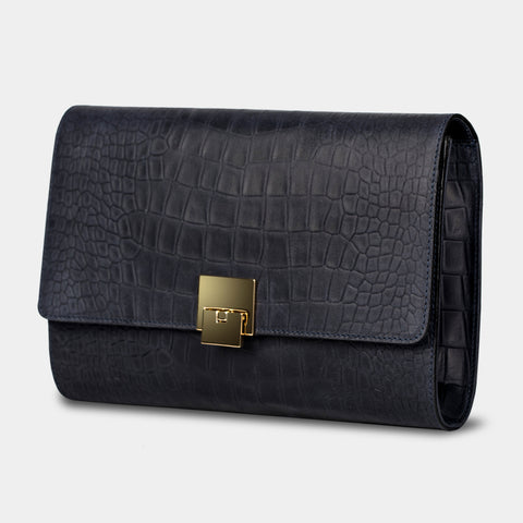 Jeanette Alligator Navy Blue