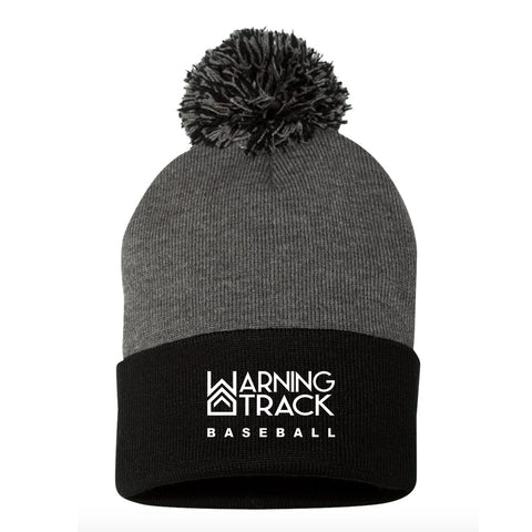 Grey/Black Beanie with ball