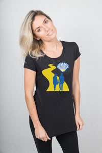 Camino black t-shirt made in Australia 100% organic cotton.