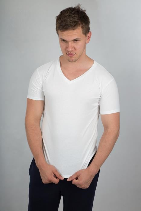 Plain V-Neck T-shirt Man - theorganictshirt
