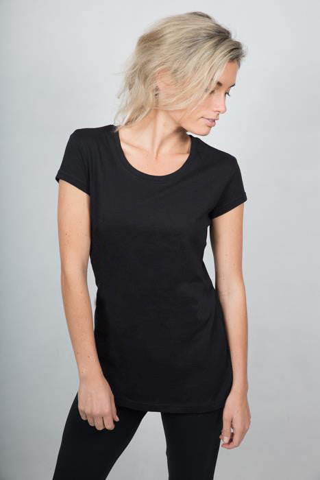 Plain Round Neck T-shirt Woman Black - theorganictshirt