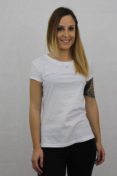 Plain Round Neck T-shirt Woman