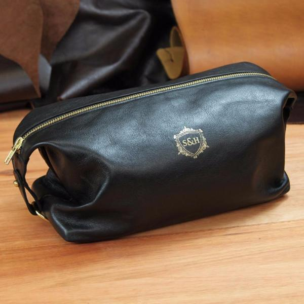Black Leather Wash Bag - Swagger & Hide | Our leather luggage accessories and leather travel bags make the perfect gift for him!  All of our products are handcrafted and personalised.