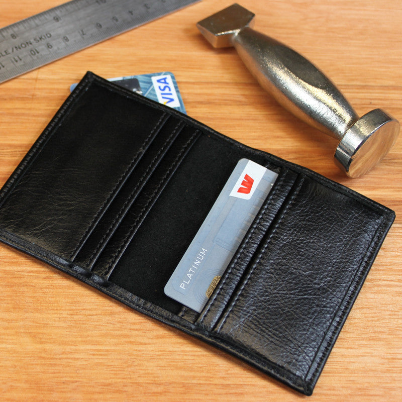 Black Leather Card Holder - Swagger & Hide | Our leather luggage accessories and leather travel bags make the perfect gift for him!  All of our products are handcrafted and personalised.