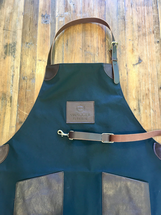 Leather and Canvas Apron - Swagger & Hide | Our leather luggage accessories and leather travel bags make the perfect gift for him!  All of our products are handcrafted and personalised.