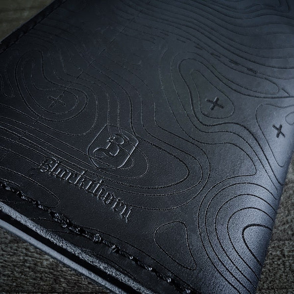 Topographic Map Leather Field Notes Cover - BLACK CRAZYHORSE