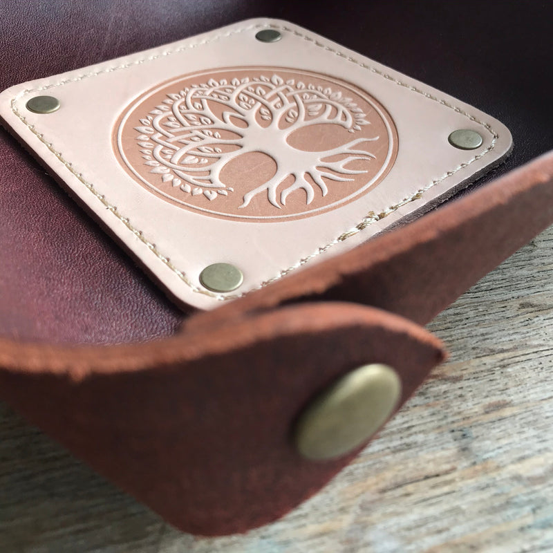Leather Valet Tray, Leather Catch All, Custom Leather Tray - CELTIC TREE OF LIFE