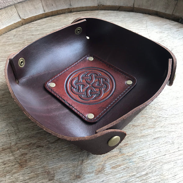 Leather Valet Tray, Leather Catch All, Custom Leather Tray - CELTIC FATHERHOOD KNOT