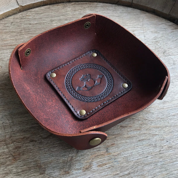 Leather Valet Tray, Leather Catch All, Custom Leather Tray - IRISH CLADDAGH