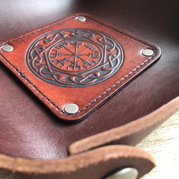 Leather Valet Tray, Leather Catch All, Custom Leather Tray - VEGVISIR