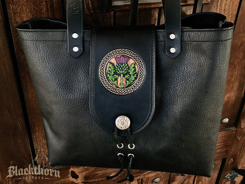 THE ALEX TOTE - THISTLE - Hand Painted Embossed Handmade Fine Leather Handbag Purse Bag