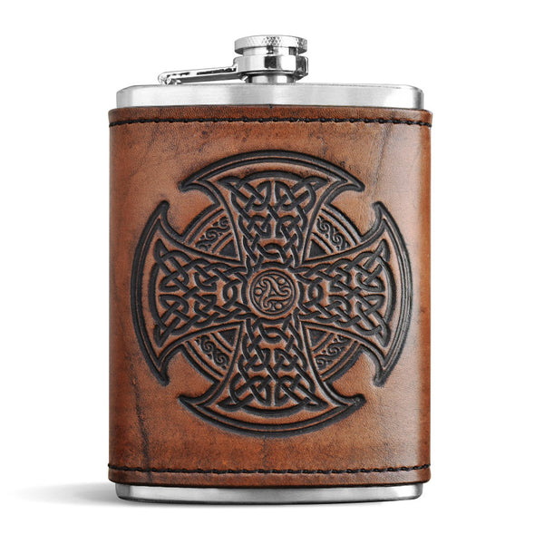 Leather Wrapped Flask - CELTIC HIGH CROSS