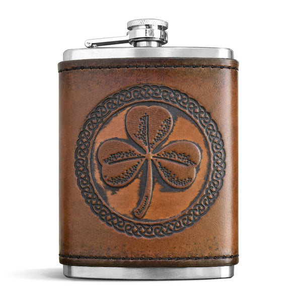 Leather Wrapped Flask - SHAMROCK