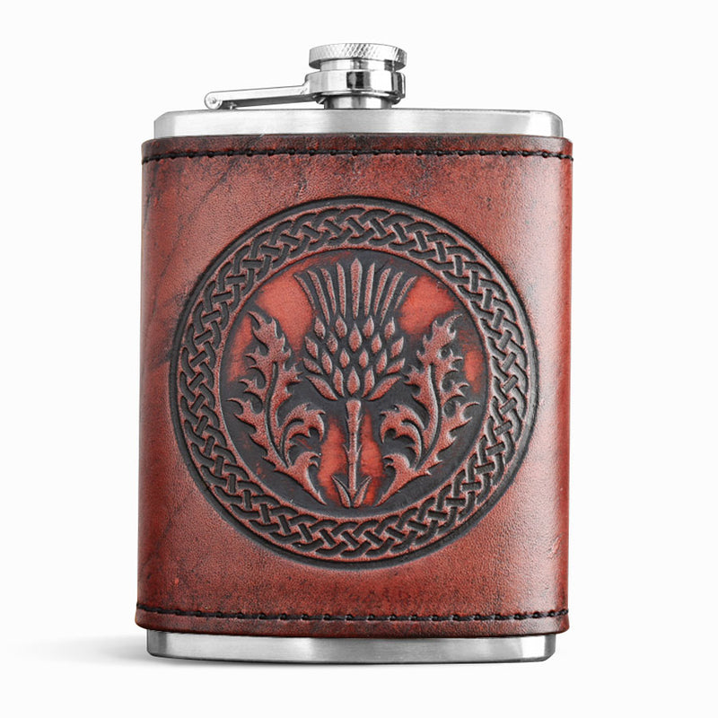 Leather Wrapped Flask - THISTLE