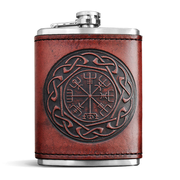 Leather Wrapped Flask - VEGVISIR