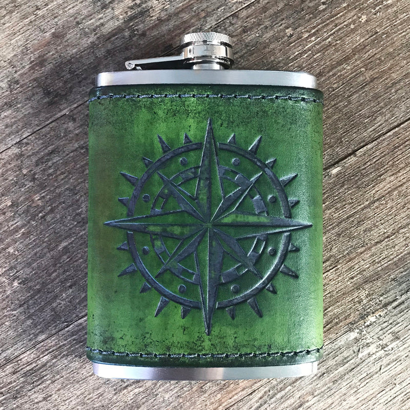 Leather Wrapped Flask - COMPASS ROSE
