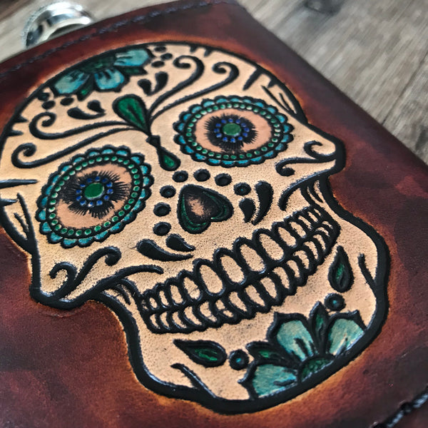Leather Wrapped Flask - HAND PAINTED SUGAR SKULL